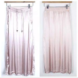 H&M Silk Satin Light Pink Drawstring Skirt, Size 4